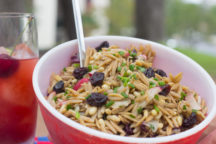 Orzo Salad With Pine Nuts, Radicchio, Cherries And Garden Herbs